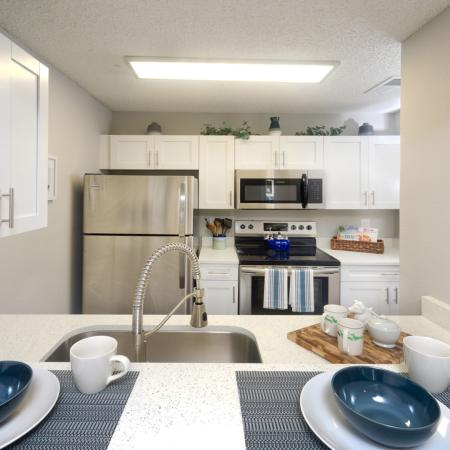 Updated white stone counter-tops in upgraded 1 bedroom interior.