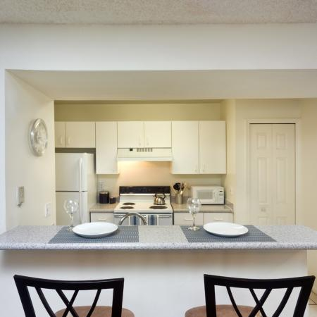3 bedroom kitchen and dining area interior.