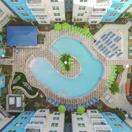 Overhead photo of IQ's pool, surrounded by buildings on all four sides.