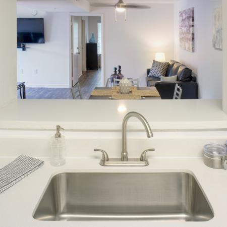 Modern, undermounted, single tub sink.  Opening above sink looks into living and dining areas.