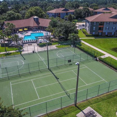 Lexington Crossing aerial view of tennis and basketball courts