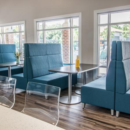 Lexington Crossing clubhouse with restaurant style seating