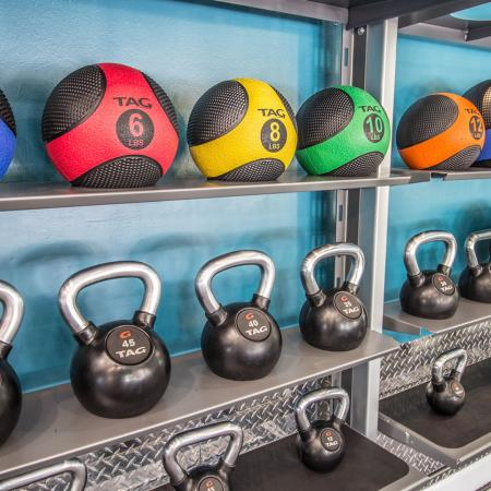 Lexington Crossing fitness center with kettle bells and medicine balls