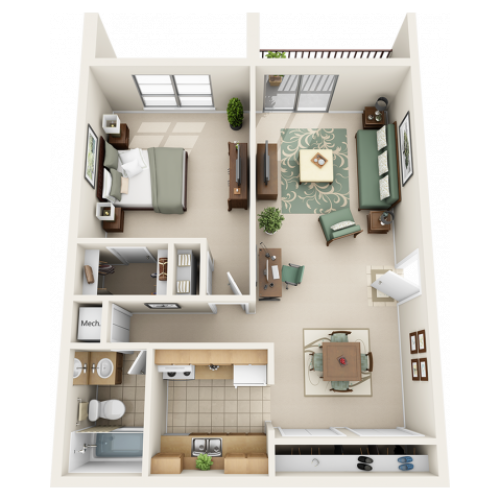 1 bedroom 1 bathroom floor plan with full upgrade