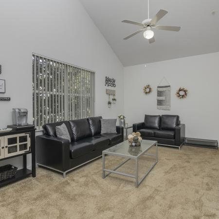Carpeted living room with two couches, coffee table, media center and tv, ceiling fan and a window.
