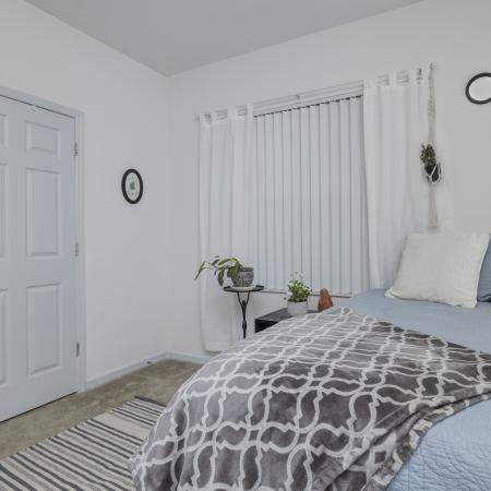 Carpeted bedroom with a large window, white walls, bed, area rug, and a door leading to the common area.