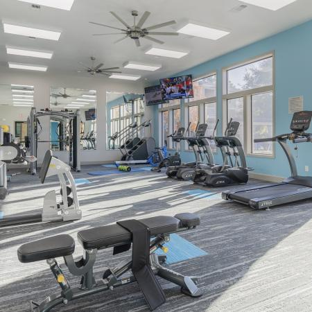 Community gym with weights, mirrors, wall mount televisions, treadmills, ellipticals, bench press and other equipment.