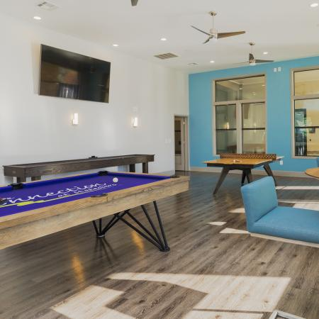 Community clubhouse gaming area with a pool table, ping pong, shuffleboard, and general seating.