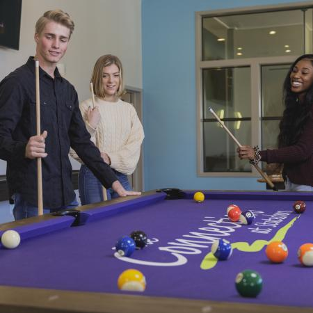 Two young adult females and one young adult male playing a game of pool with a wall mounted TV in the background.