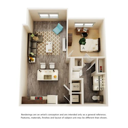 Tesla 1 bedroom 1 bathroom floor plan