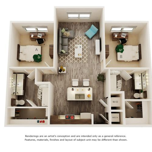 Jobs 2 bedrooms 2 bathrooms floor plan