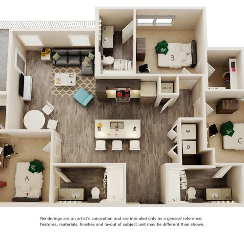 Caver 3 bedrooms 3 bathrooms floor plan