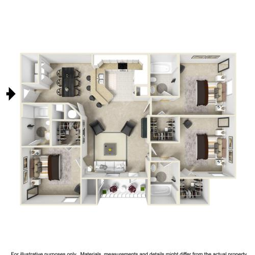3 Bedroom 3 Bathroom Floor Plan Image of The Jewel