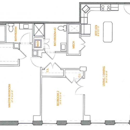 2 Bedroom Floor Plan | The Cliffs