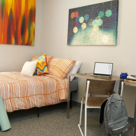 furnished with bed, desk, and chair, study, full size mattress