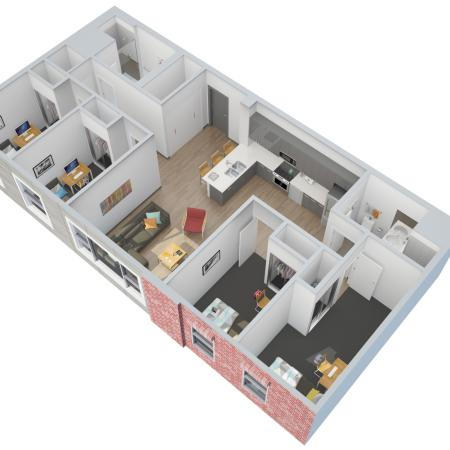 4 Bedroom 2 Bathroom Apartments