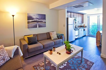 Furnished with Flatscreen TV, Sofa, Couch, Coffee Table, studio