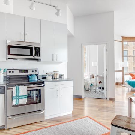 Kitchens with stainless steel appliances and utilities and finishes, apartments, Microwave, Stainless Steel, Stove, Oven