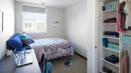 Spacious College Bedrooms, furnished with bed, desk, and chair, study, full size mattress