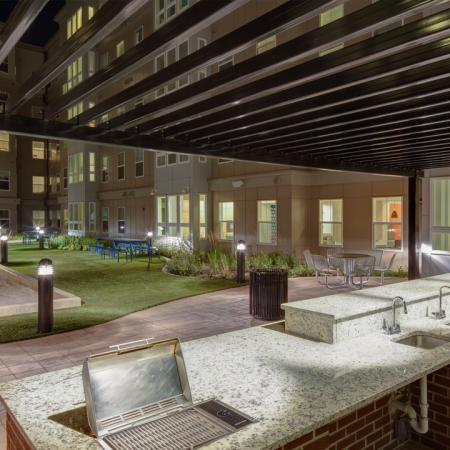 Outdoor Apartments College Park Bocce Ball Courtyard With Grilling Stations