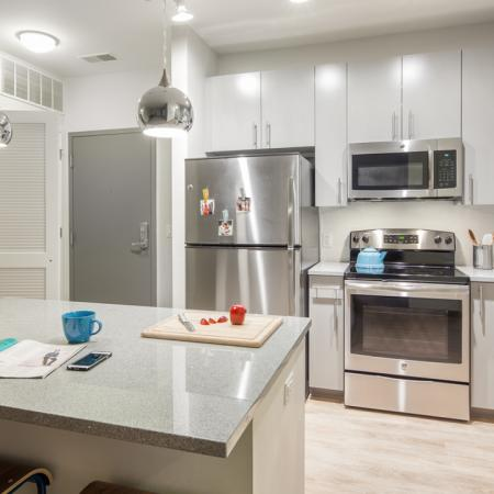 Kitchens with stainless steel appliances and utilities and finishes, Microwave, Stainless Steel, Stove, Oven