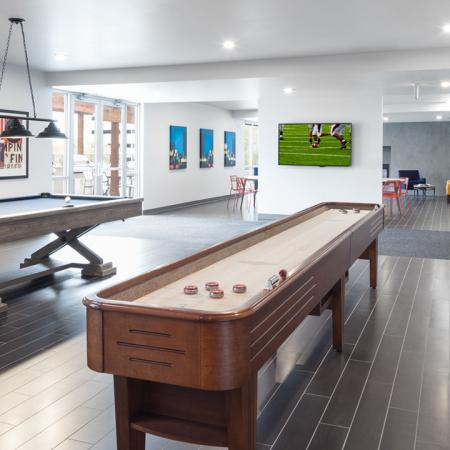 shuffleboard, pool table, TV