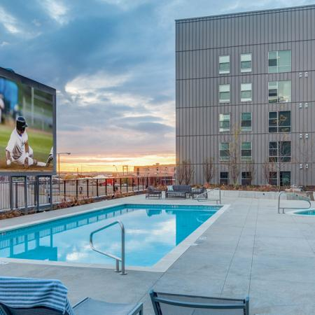 Luxury swimming pool, cabanas, grilling station, rooftop lounge, sun deck, Jumbotron, hot tub