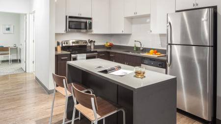 Kitchens with stainless steel appliances and utilities and finishes