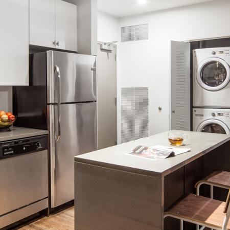 apartments, Microwave, Stainless Steel, Stove, Oven, Counter, Stool