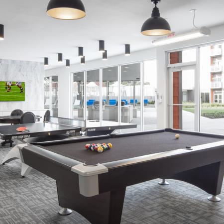 pool table, TV, social lounge