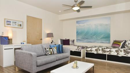 furnished with twin beds, desk, hardwood, couch, sofa