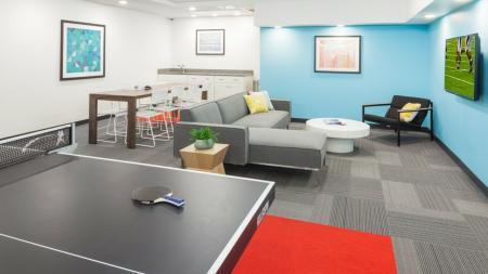 club lounge, group hangout, flat screen