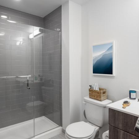 Spacious, large, modern bathroom with glass shower