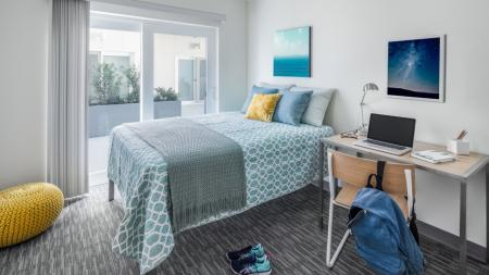 College Bedrooms, furnished with bed, desk, and chair, study, full size mattress