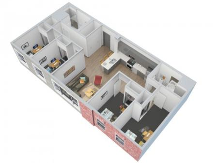3D Floorplan Depicts Style 4 x 2 A