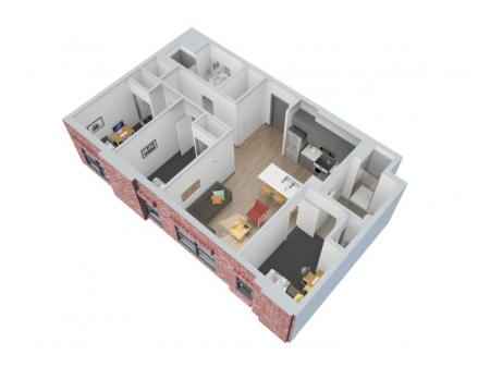 3D Floorplan Depicts Style 3 x 2 A