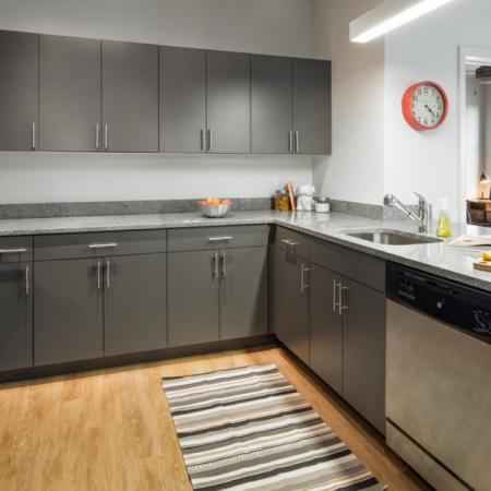 Kitchens with stainless steel appliances and utilities and finishes, apartments, dishwasher, Island
