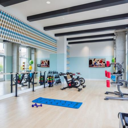 Bike machines, yoga mats, mirrors, TV, On-demand fitness, stretch, spinning