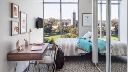 Spacious College Bedrooms, furnished with bed, desk and chair