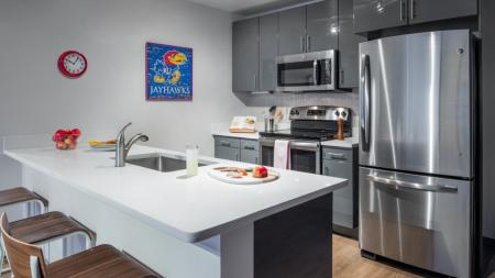 Kitchens with stainless steel appliances and utilities and finishes, apartments