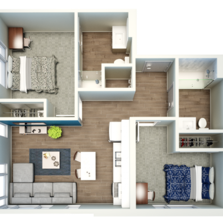 2 Bedroom Floor Plan | Csu Off Campus Housing | Uncommon Fort Collins