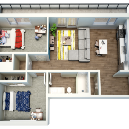 2 Bdrm Floor Plan | Fort Collins Colorado Apartments | Uncommon Fort Collins