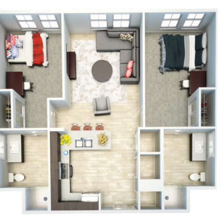 3D 2 Bedroom Floor Plan | Student Apartments In Oxford Ms | Uncommon Oxford