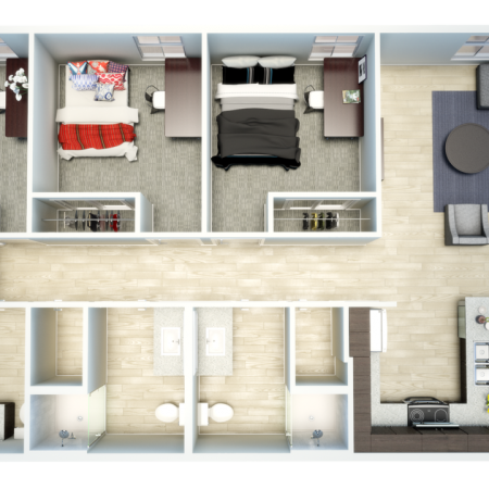 3D 3 Bedroom Floor Plan | Apartments For Rent Oxford Ms | Uncommon Oxford