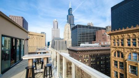 Skyline, Chicago, Rooftop, Sears Tower
