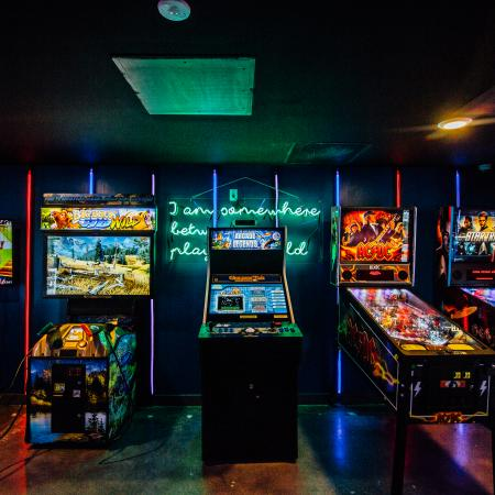 arcade, game room, club house, games, neon, pinball, video games