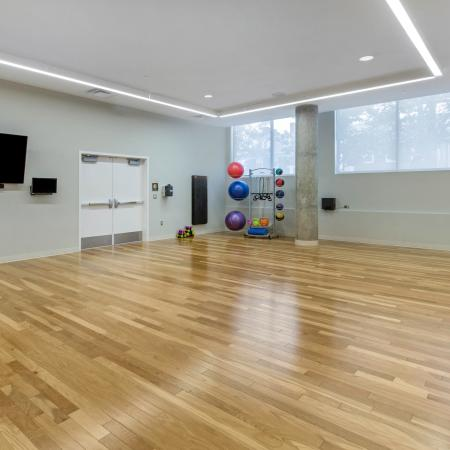 yoga studio, fitness center, apartments, amenities