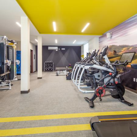 fitness center, cardio equipment, weight training, amenities, apartments