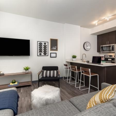 open concept floor plans, apartments for students, fully-furnished living room