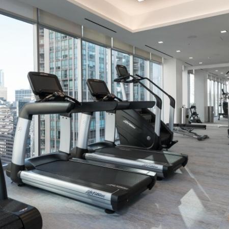 treadmills, fitness center, peloton bike, yoga studio
